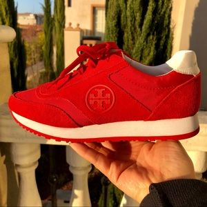Tory Burch Red Suede Sneakers 5M